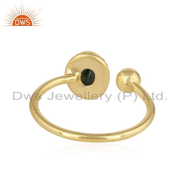 Suppliers Green Tourmaline Gemstone Indian Gold Plated Silver Designer Rings