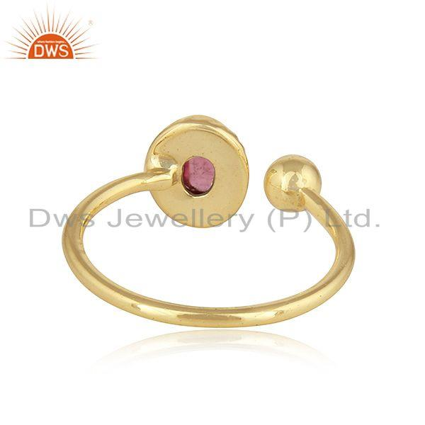Suppliers Pink Tourmaline Gemstone Womens Gold Plated Silver Ring Jewelry