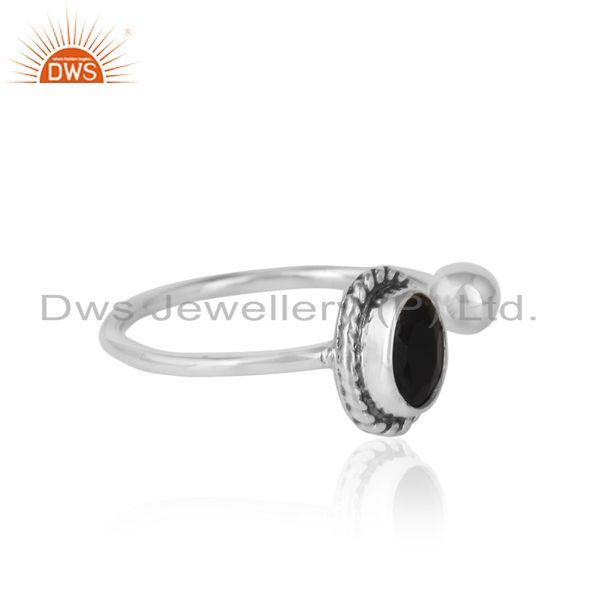 Designer of Black onyx handmade oxidized sterling silver designer ring