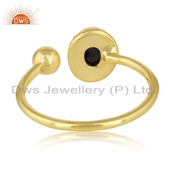 Designer of 18k gold plated silver black onyx gemstone designer girls rings