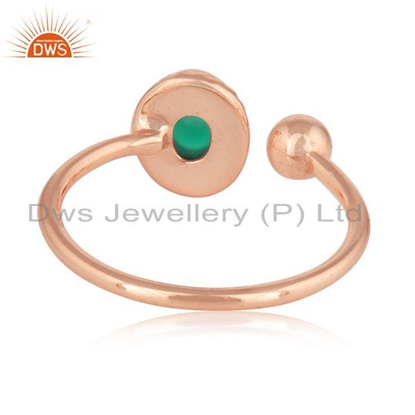 Designer of Green onyx gemstone rose gold plated silver womens rings jewelry