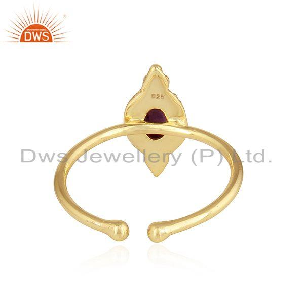 Suppliers Stackable 18k Yellow Gold Plated Silver Amethyst Gemstone Rings
