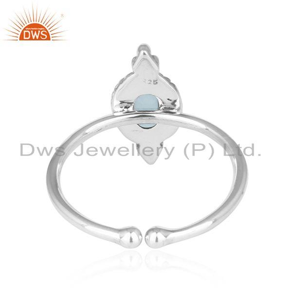 Suppliers Blue Topaz Gemstone Oxidized Sterling Fine Silver Ring Jewelry