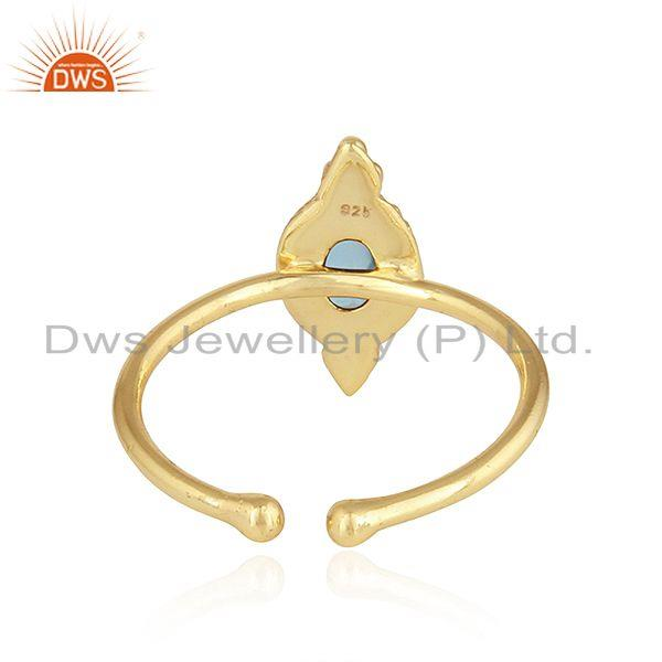 Suppliers Natural Blue Topaz Gemstone Designer Gold Plated Silver Stackable Ring