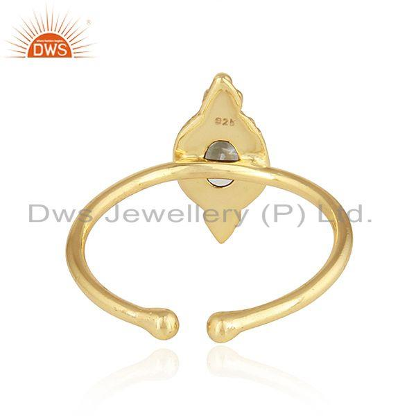 Suppliers 18k Gold Plated Stackable 925 Silver Ethiopian Opal Gemstone Rings