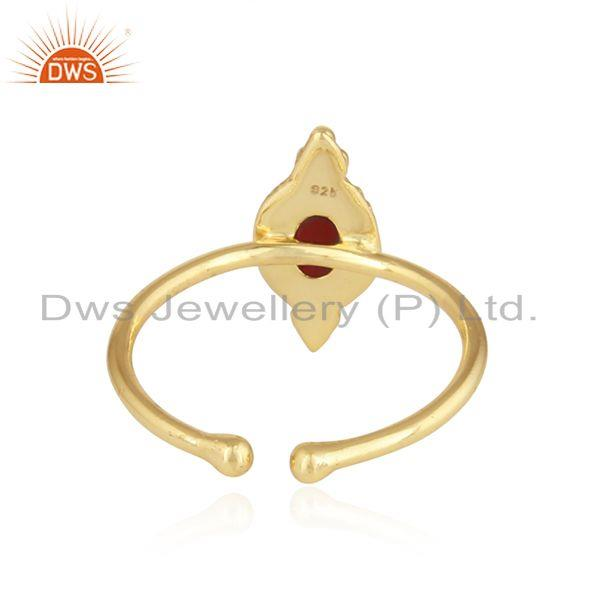 Suppliers Handmade Gold Plated 925 Silver Garnet Gemstone Stackable Rings