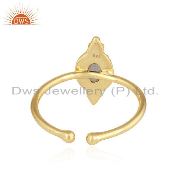 Suppliers Rainbow Moonstone Stackable Gold Plated Silver Designer Rings