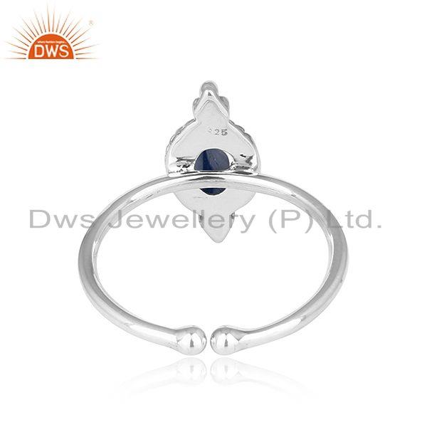 Suppliers Blue Sapphire Gemstone Oxidized Sterling Silver Antique Rings