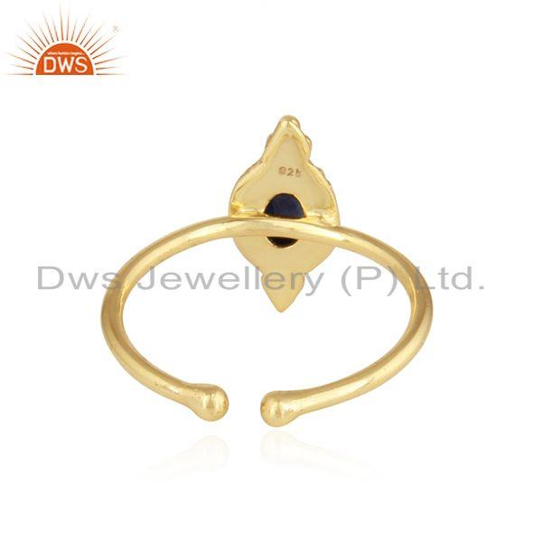 Suppliers Blue Sapphire Designer Gold Plated 92.5 Silver Satckable Rings