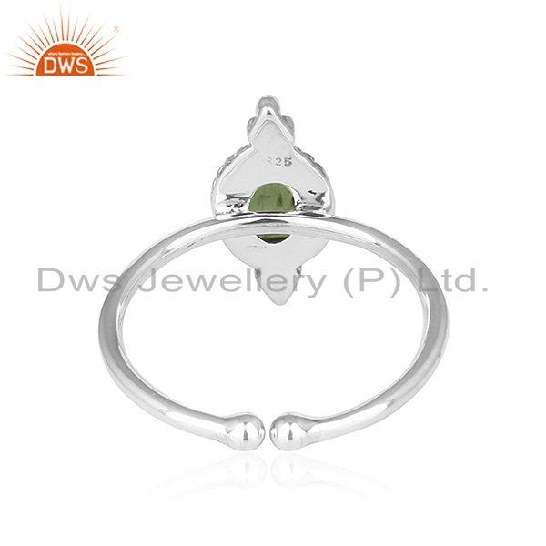 Suppliers Green Tourmaline Gemstone Antique Design Oxidized Silver Rings