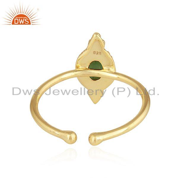Suppliers Gold Plated 92.5 Silver Green Tourmaline Gemstone Rings Jewelry