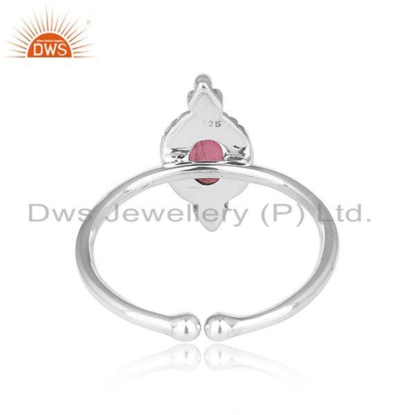 Suppliers Pink Tourmaline Gemstone Oxidized Sterling Silver Ring Jewelry