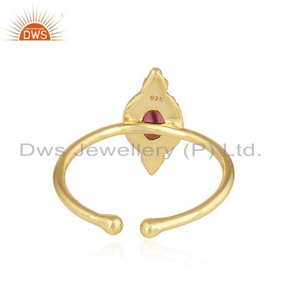 Suppliers Pink Tourmaline Gemstone Gold Plated 92.5 Silver Stackable Rings