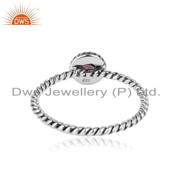 Designer of Pink tourmaline gemstone handmade twisted design 925 silver rings