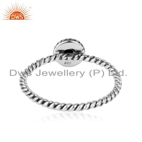 Designer of Black onyx gemstone twisted wire design sterling silver ring jewelry