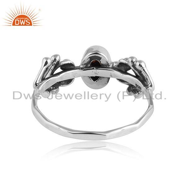 Suppliers Natural Garnet Oxidized Silver 92.5 Silver Womens Ring Jewelry
