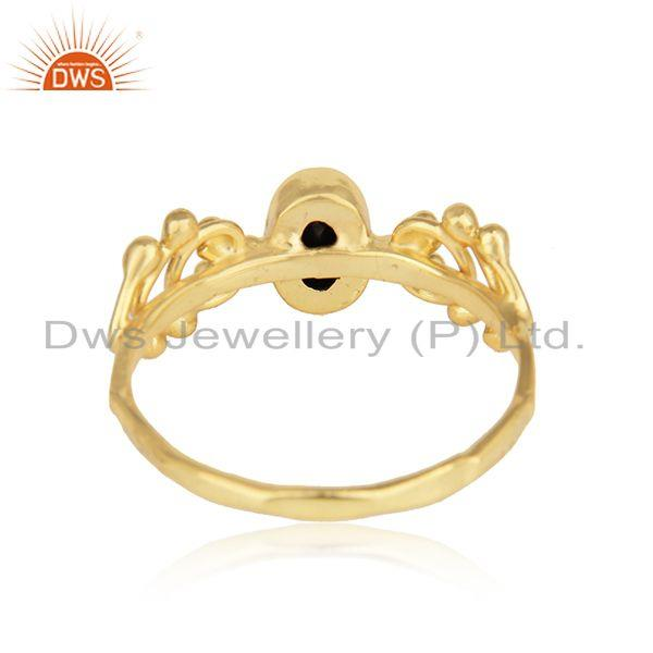 Designer of Natural black onyx dainty ring in yellow gold on silver 925