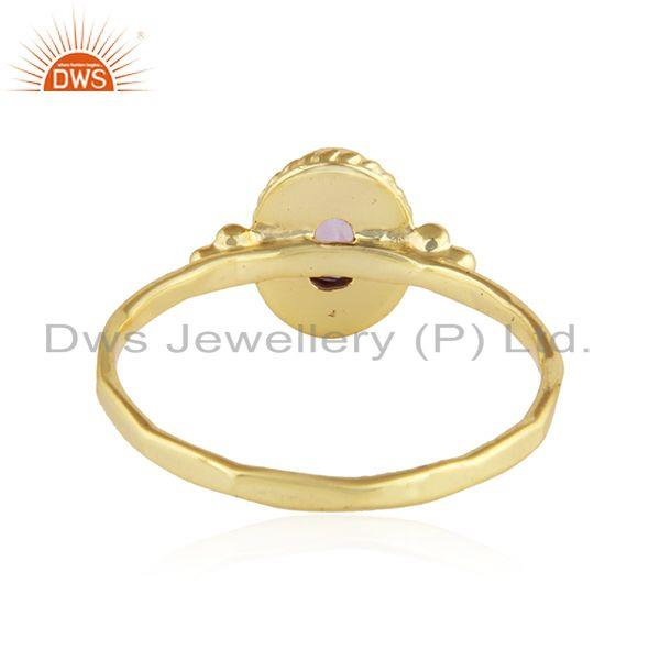 Suppliers Yellow Gold Plated Designer Silver Amethyst Gemstone Ring Jewelry
