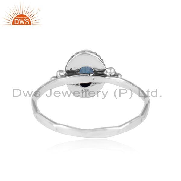 Designer of Blue corundum gemstone womens antique oxidized 925 silver rings