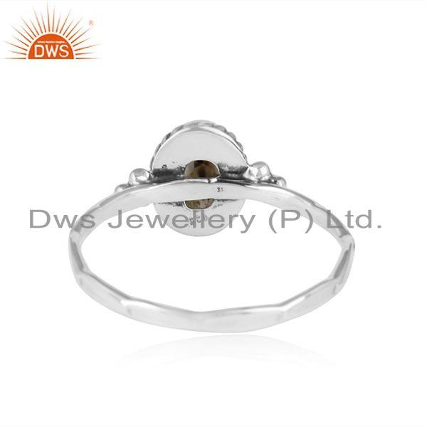 Designer of Natural citrine gemstone antique oxidized 925 silver girls rings