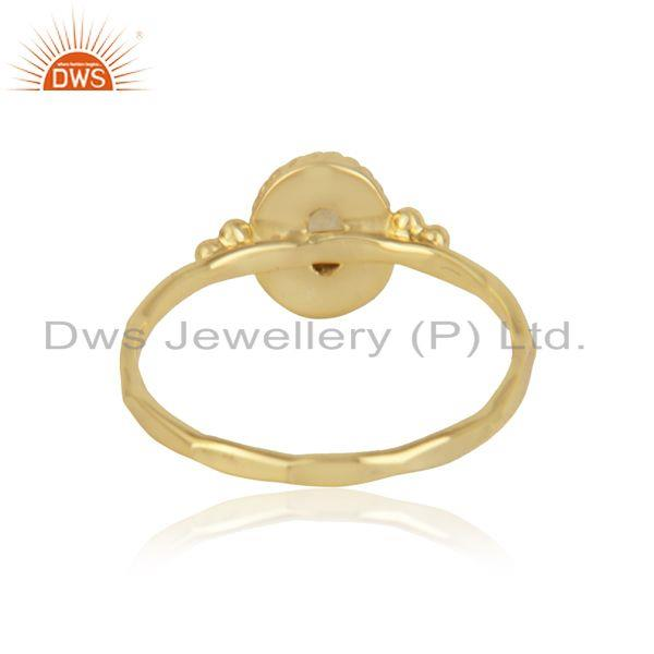 Designer of Handcrafted dainty ring in yellow gold on silver 925 and citrine