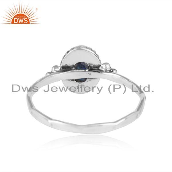 Designer of Labradorite gemstone 925 sterling silver oxidized womens rings