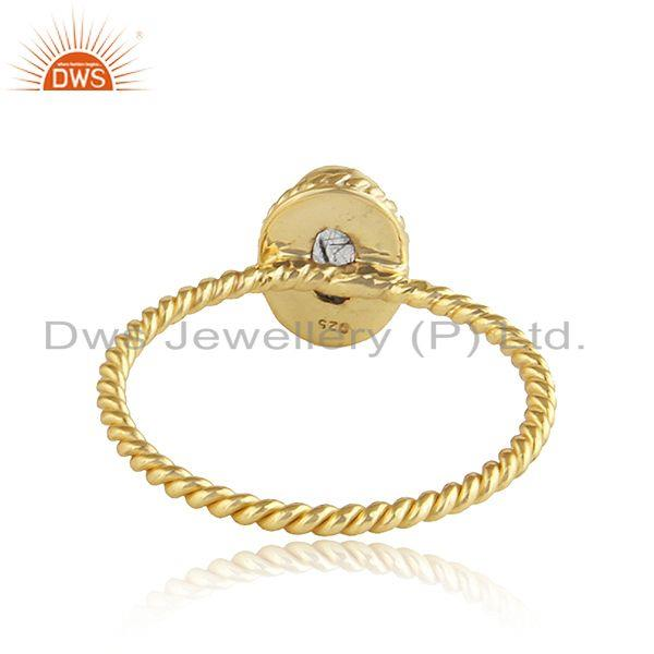 Suppliers Black Rutile Gemstone Twisted Silver Gold Plated Stackable Rings