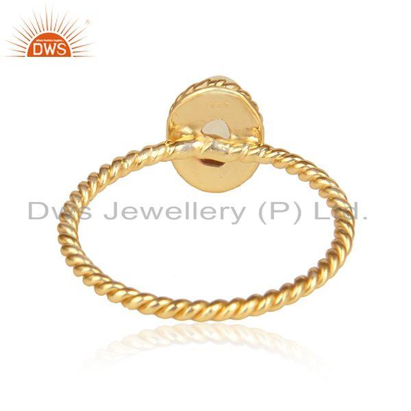 Designer of Citrine gemstone twisted design gold on 925 silver rings jewelry