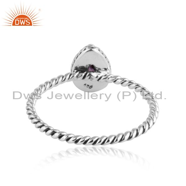Suppliers Pear Shape Amethyst Twisted 92.5 Silver Oxidized Stackable Rings