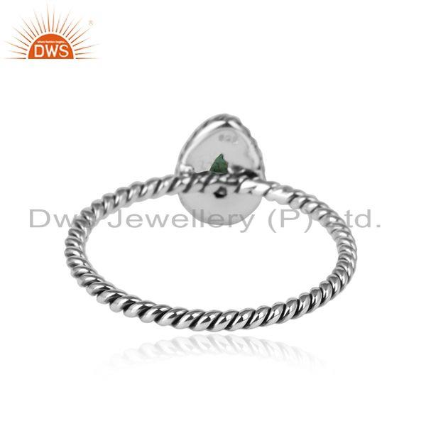 Designer of Pear shape emerald gemstone oxidized 925 silver twisted design rings