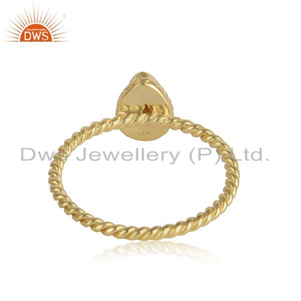 Designer of Pear shape pearl gemstone twisted 18k gold plated silver rings