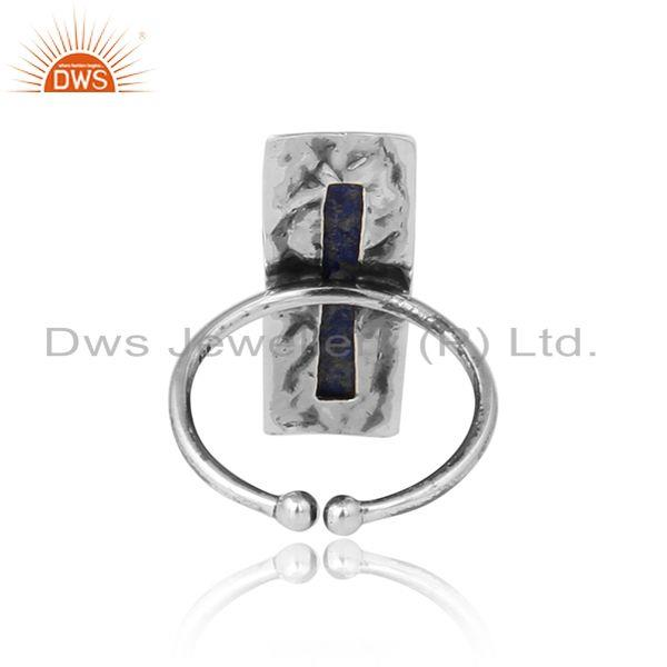 Designer of Brick texture oxidized silver natural lapis lazuli gemstone rings