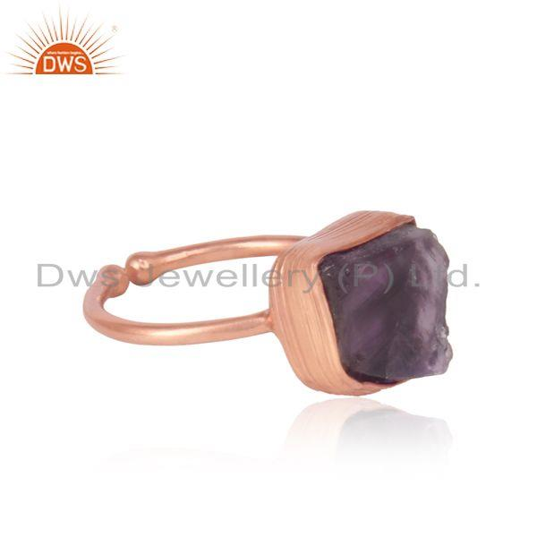 Designer of Handcrafted bold organic amethyst ring in yellow gold on silver