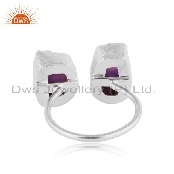 Suppliers Natural Rough Amethyst Gemstone Fine Silver Stud Earrings Jewelry
