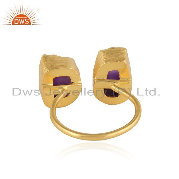 Suppliers Nugget Design Gold Plated 925 Silver Amethyst Gemstone Rings