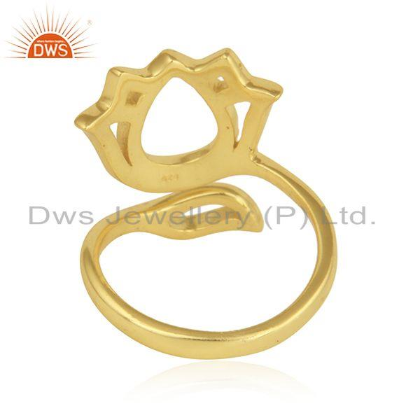Suppliers Yellow Gold Plated Silver Designer Beautiful Lotus Ring Jewelry