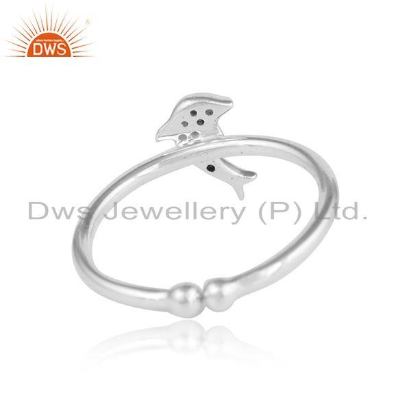 Designer of Dolfin fish design white zircon 925 sterling fine silver rings