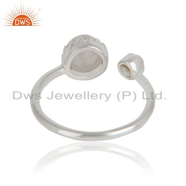 Designer of Pearl rainbow moonstone womens sterling silver designer rings
