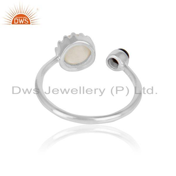 Designer of Black onyx pearl gemstone girls designer 925 sterling silver ring