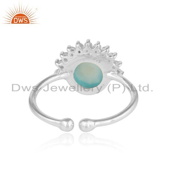 Designer of Rising sun design aqua chalcedony cz gemstone sterling silver ring