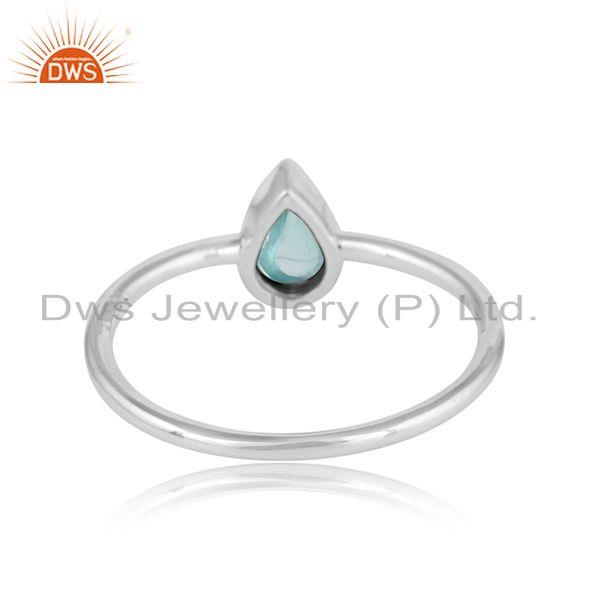 Designer of Pear shape sterling fine silver aqua chalcedony gemstone rings