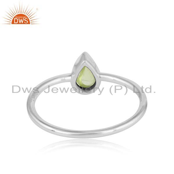 Designer of Natural peridot gemstone womens sterling fine silver ring jewelry