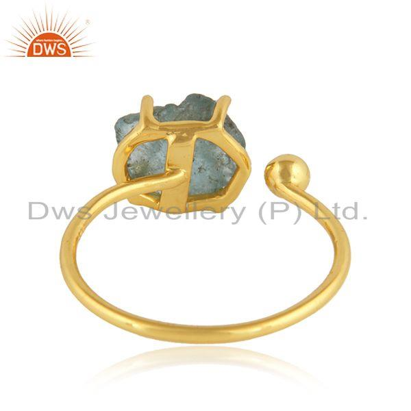 Suppliers Handmade 18k Gold Plated 925 Silver Neon Apatite Gemstone Rings