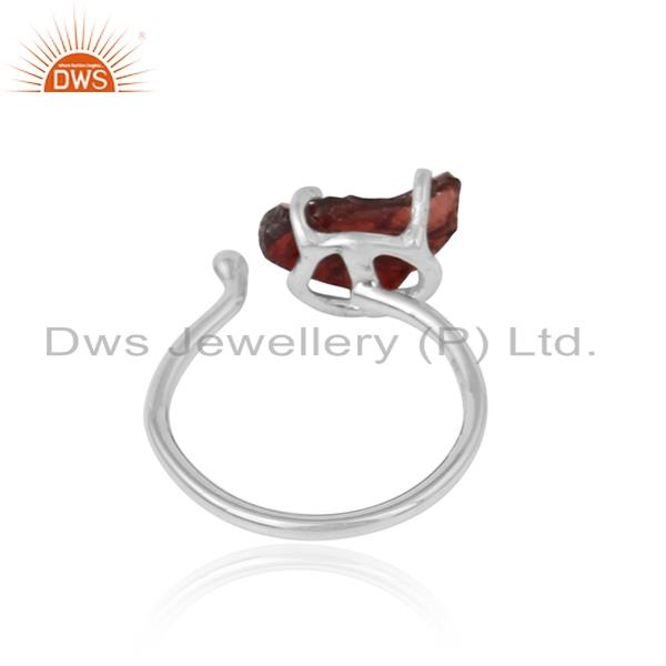 Designer of Handcrafted designer garnet rough gemstone ring in silver 925