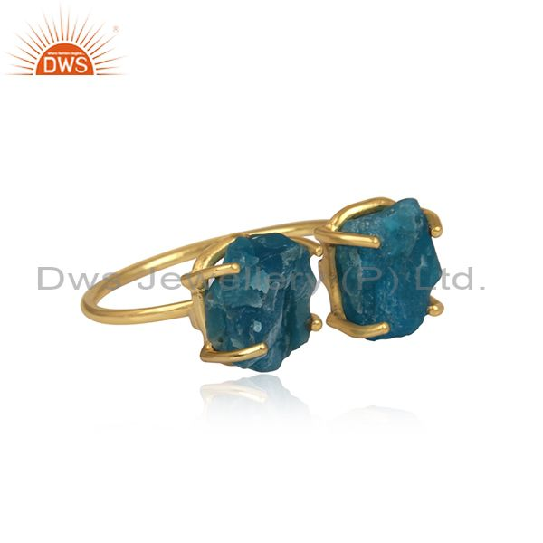 Suppliers Prong Set Apatite Gemstone Womens Gold Plated 925 Silver Rings