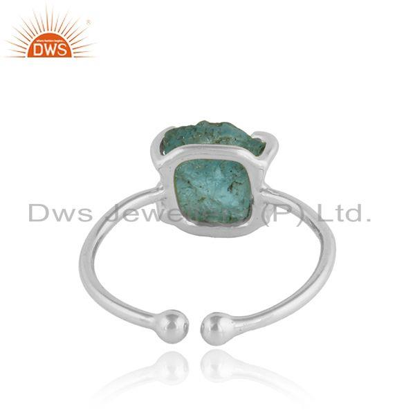 Suppliers Sterling Fine Silver Prong Set Neon Apatite Gemstone Ring Jewelry