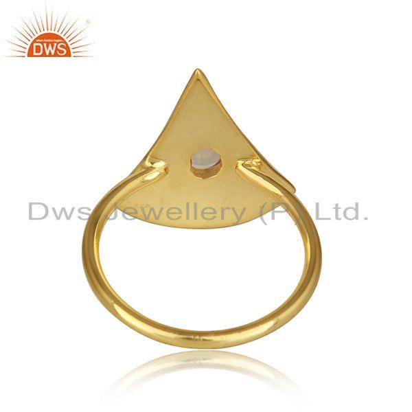 Suppliers Texture Yellow Gold Plated Silver Ethiopian Opal Gemstone Rings