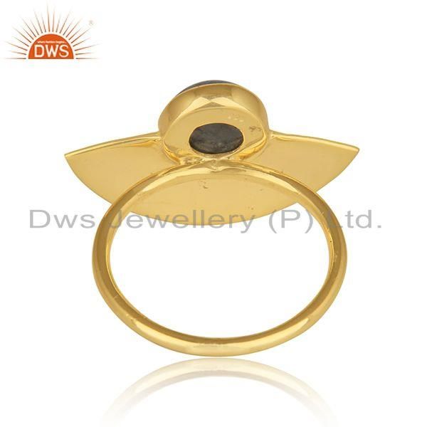 Suppliers Handmade Gold Plated Texture Silver Labradorite Gemstone Rings