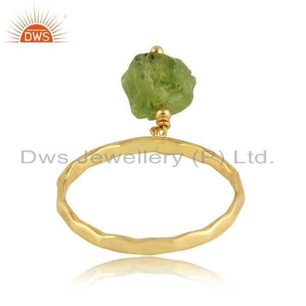 Suppliers Natural Peridot Gemstone Womens Gold Plated Designer Silver Rings