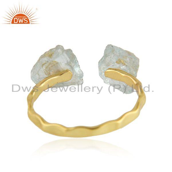 Suppliers Aqua Chalcedony Gemstone Handmade Silver Gold Plated Ring Jewelry